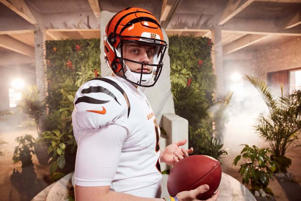 "Bengals Quarterback Joe Burrow rocks the ""New Stripes"" in the Intro video."