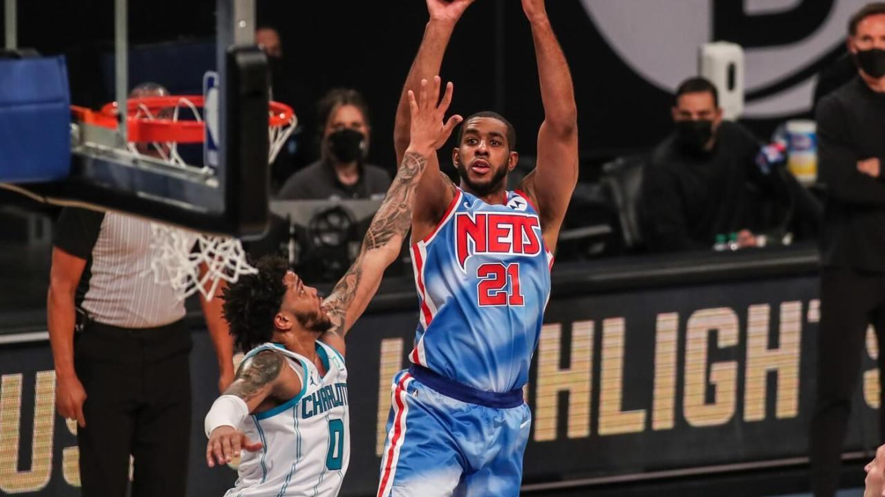Apr 1, 2021; Brooklyn, New York, USA; Brooklyn Nets center LaMarcus Aldridge (21) at Barclays Center. Mandatory Credit: Wendell Cruz-USA TODAY Sports