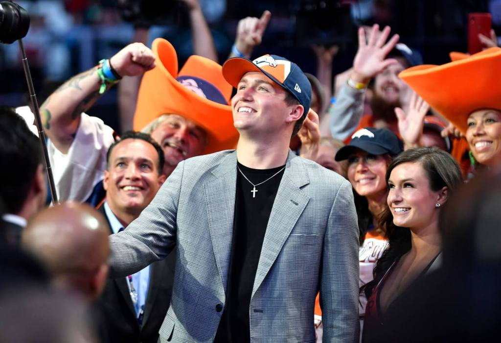 Drew Lock takes a selfie after being picked by the Denver Broncos during the second day of the NFL Draft Friday, April 26, 2019, in Nashville, Tenn. Credit: George Walker IV