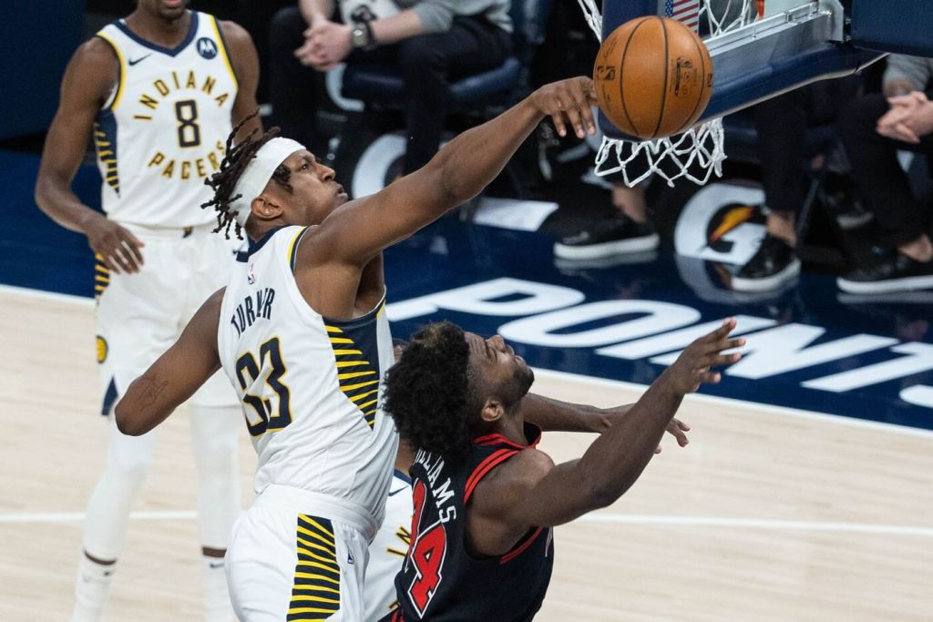 Apr 6, 2021; Indianapolis, Indiana, USA; Indiana Pacers center Myles Turner (33) blocks the shot of Chicago Bulls forward Patrick Williams (44) in the third quarter at Bankers Life Fieldhouse. Mandatory Credit: Trevor Ruszkowski-USA TODAY Sports
