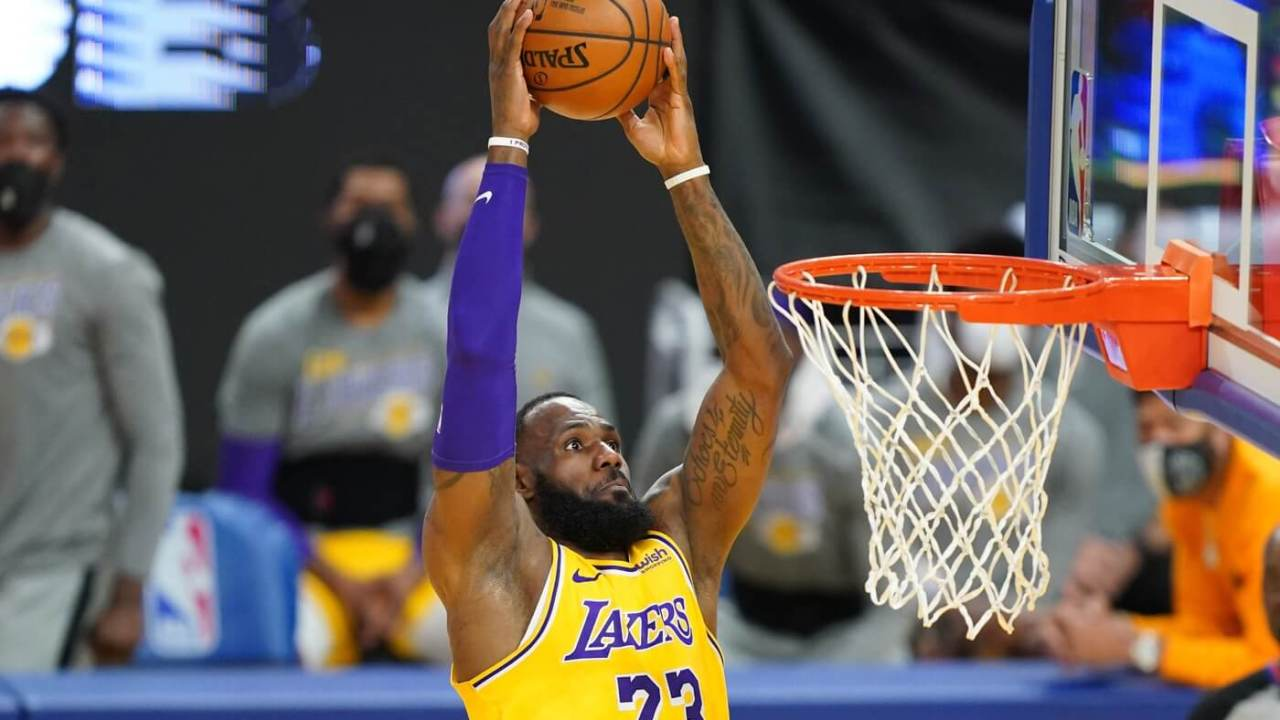 March 15, 2021; San Francisco, California, USA; Los Angeles Lakers forward LeBron James (23) during the second quarter against the Golden State Warriors at Chase Center. Mandatory Credit: Kyle Terada-USA TODAY Sports