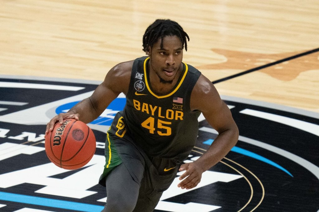 April 5, 2021; Indianapolis, IN, USA; Baylor Bears guard Davion Mitchell (45) in the second half during the national championship game in the Final Four of the 2021 NCAA Tournament against the Gonzaga Bulldogs at Lucas Oil Stadium. Mandatory Credit: Kyle Terada-USA TODAY Sports