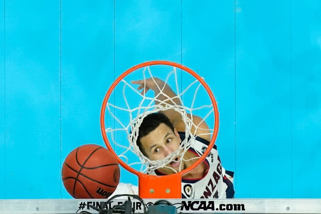 April 5, 2021; Indianapolis, IN, USA; Gonzaga Bulldogs guard Jalen Suggs (1) shoots the basketball in the second half of the national championship game in the Final Four of the 2021 NCAA Tournament against the Baylor Bears at Lucas Oil Stadium. Mandatory Credit: Kyle Terada-USA TODAY Sports