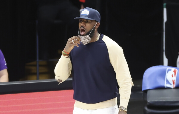 Apr 22, 2021; Dallas, Texas, USA; Los Angeles Lakers injured forward LeBron James (23) yells during the fourth quarter against the Dallas Mavericks at American Airlines Center. Mandatory Credit: Kevin Jairaj-USA TODAY Sports