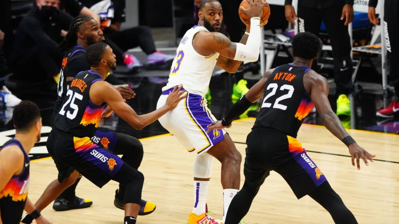 May 23, 2021; Phoenix, Arizona, USA; Los Angeles Lakers forward LeBron James (23) against the Phoenix Suns during game one in the first round of the 2021 NBA Playoffs. at Phoenix Suns Arena