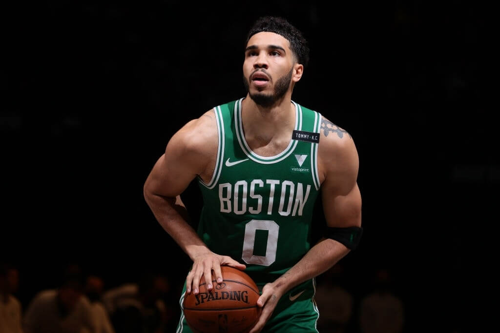 BROOKLYN, NY - MAY 25: Jayson Tatum #0 of the Boston Celtics shoots a free throw against the Brooklyn Nets during Round 1, Game 2 of the 2021 NBA Playoffs on May 25, 2021 at Barclays Center in Brooklyn, New York. NOTE TO USER: User expressly acknowledges and agrees that, by downloading and or using this Photograph, user is consenting to the terms and conditions of the Getty Images License Agreement. Mandatory Copyright Notice: Copyright 2021 NBAE (Photo by Nathaniel S. Butler/NBAE via Getty Images)