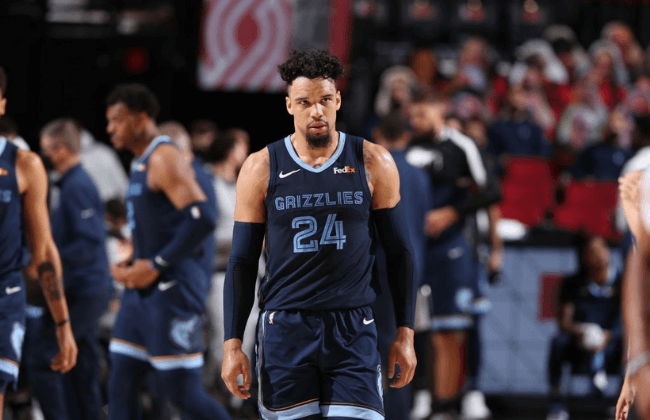 PORTLAND, OR - APRIL 25: Dillon Brooks #24 of the Memphis Grizzlies looks on during the game against the Portland Trail Blazers on April 25, 2021 at the Moda Center Arena in Portland, Oregon. NOTE TO USER: User expressly acknowledges and agrees that, by downloading and or using this photograph, user is consenting to the terms and conditions of the Getty Images License Agreement. Mandatory Copyright Notice: Copyright 2021 NBAE (Photo by Sam Forencich/NBAE via Getty Images)