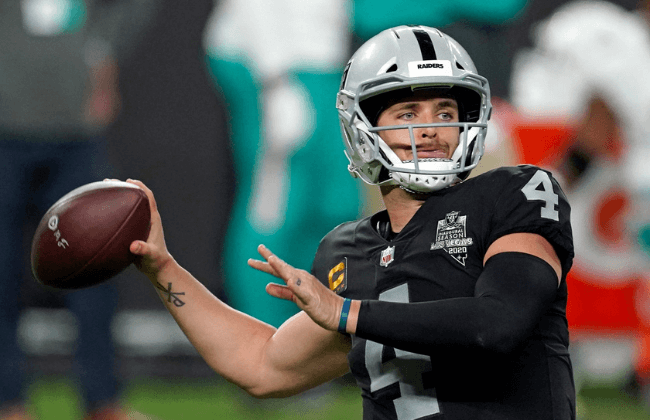 Dec 26, 2020; Paradise, Nevada, USA; Las Vegas Raiders quarterback Derek Carr (4) throws a pass against the Miami Dolphins during the first half at Allegiant Stadium. Mandatory Credit: Kirby Lee-USA TODAY Sports