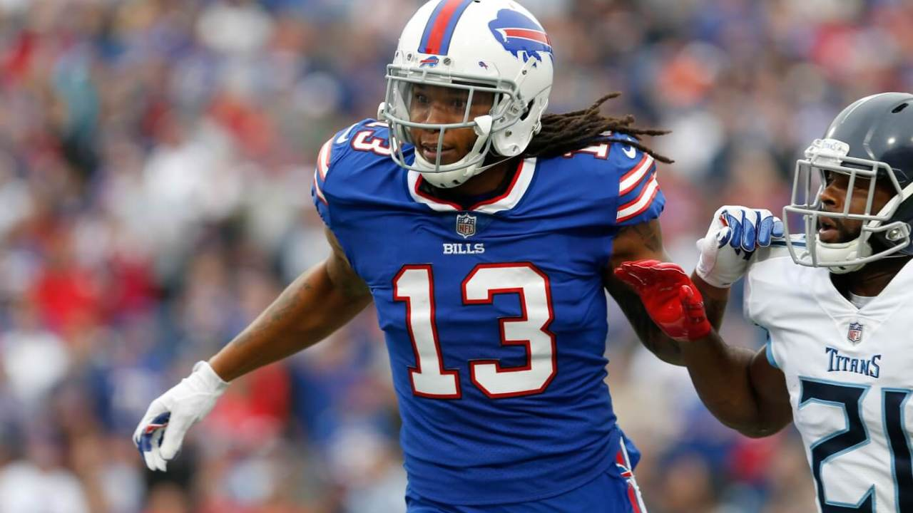 Oct 7, 2018; Orchard Park, NY, USA; Buffalo Bills wide receiver Kelvin Benjamin (13) against the Tennessee Titans at New Era Field. Mandatory Credit: Timothy T. Ludwig-USA TODAY Sports