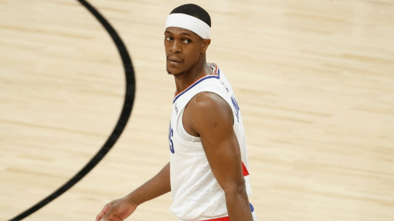 PHOENIX, ARIZONA - APRIL 28: Rajon Rondo #4 of the LA Clippers during the NBA game against the Phoenix Suns at Phoenix Suns Arena on April 28, 2021 in Phoenix, Arizona. The Suns defeated the Clippers 109-101. NOTE TO USER: User expressly acknowledges and agrees that, by downloading and or using this photograph, User is consenting to the terms and conditions of the Getty Images License Agreement. (Photo by Christian Petersen/Getty Images)