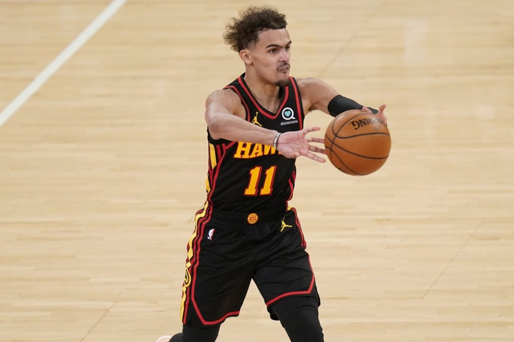 May 23, 2021; New York, New York, USA; Atlanta Hawks guard Trae Young (11) passes during the second half in game one in the first round of the 2021 NBA Playoffs at Madison Square Garden. Mandatory Credit: Seth Wenig/Pool Photo-USA TODAY Sports