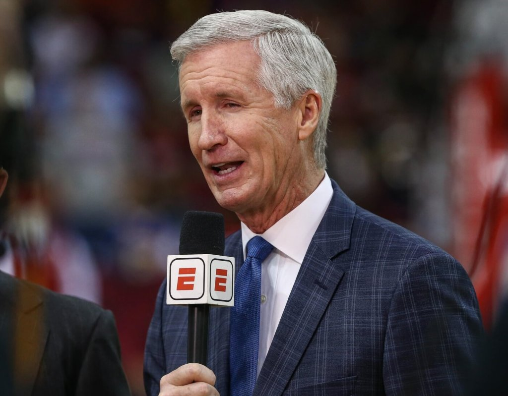 Jan 18, 2020; Houston, Texas, USA; Mike Breen before a game between the Houston Rockets and the Los Angeles Lakers at Toyota Center. Mandatory Credit: Troy Taormina-USA TODAY Sports