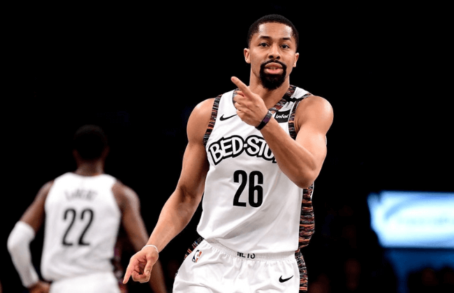 NEW YORK, NEW YORK - MARCH 08:  Spencer Dinwiddie #26 of the Brooklyn Nets reacts against the Chicago Bulls in the second half at Barclays Center on March 08, 2020 in New York City. NOTE TO USER: User expressly acknowledges and agrees that, by downloading and or using this photograph, User is consenting to the terms and conditions of the Getty Images License Agreement. (Photo by Steven Ryan/Getty Images)