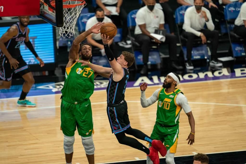 May 16, 2021; Sacramento, California, USA; Utah Jazz center Rudy Gobert (27) blocks the shot of Sacramento Kings guard Kyle Guy (7) during the first quarter at Golden 1 Center. Mandatory Credit: Neville E. Guard-USA TODAY Sports