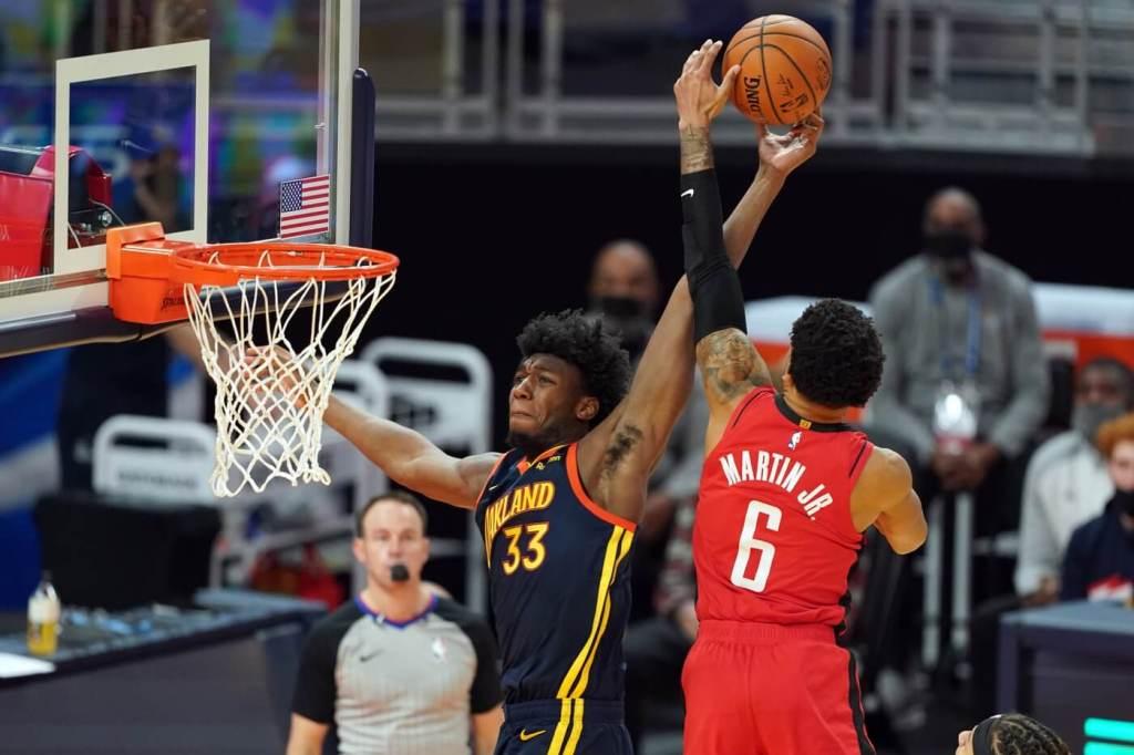 Apr 10, 2021; San Francisco, California, USA; Houston Rockets forward Kenyon Martin Jr. (6) blocks the shot of Golden State Warriors center James Wiseman (33) during the second quarter at Chase Center. Mandatory Credit: Darren Yamashita-USA TODAY Sports
