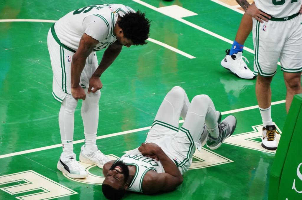 Apr 27, 2021; Boston, Massachusetts, USA; Boston Celtics guard Jaylen Brown (7) reacts after a play against the Oklahoma City Thunder in the fourth quarter at TD Garden. Mandatory Credit: David Butler II-USA TODAY Sports