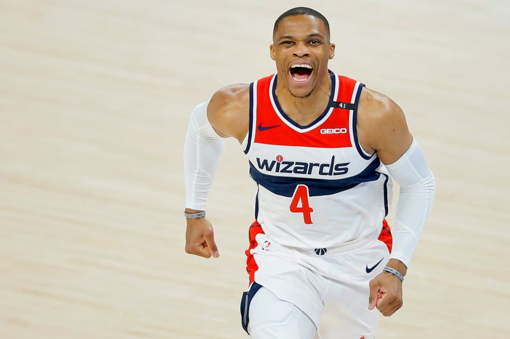 Washington's Russell Westbrook (4) shouts before an April 23 game against the Thunder. Lx12074