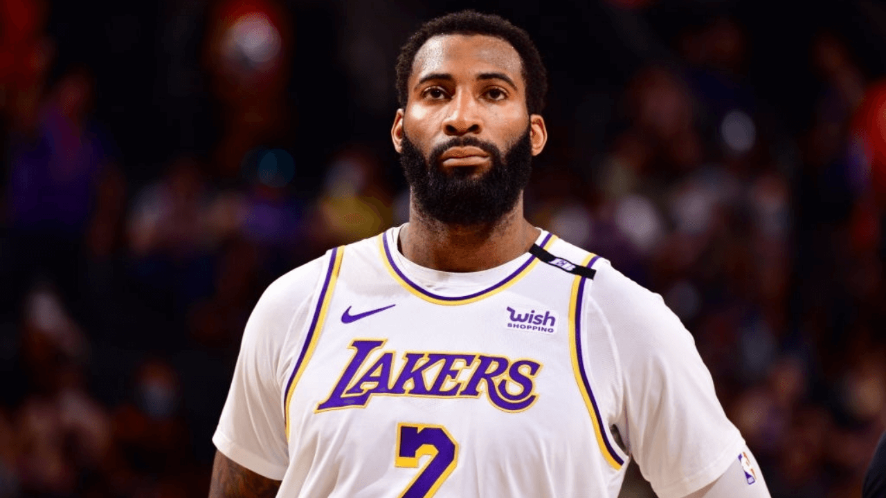 PHOENIX, AZ - MAY 23: Andre Drummond #2 of the Los Angeles Lakers looks on during the game against the Phoenix Suns during Round 1, Game 1 of the 2021 NBA Playoffs on May 23, 2021 at Talking Stick Resort Arena in Phoenix, Arizona. NOTE TO USER: User expressly acknowledges and agrees that, by downloading and or using this photograph, user is consenting to the terms and conditions of the Getty Images License Agreement. Mandatory Copyright Notice: Copyright 2021 NBAE (Photo by Barry Gossage/NBAE via Getty Images)