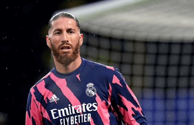 Real Madrid's Sergio Ramos warming up before during the UEFA Champions League Semi Final second leg match at Stamford Bridge, London. Picture date: Wednesday May 5, 2021. (Photo by Adam Davy/PA Images via Getty Images)