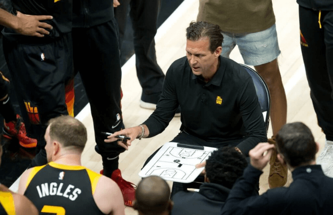Jun 16, 2021; Salt Lake City, Utah, USA; Utah Jazz head coach Quin Snyder talks with his team during a time out in the first half of game five in the second round of the 2021 NBA Playoffs against the LA Clippers at Vivint Arena.