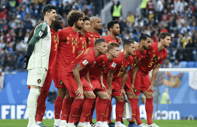 July 10, 2018; St. Petersburg, Russia; Belgium starting eleven pose for a team photo prior to the semifinals of the FIFA World Cup 2018 against France at Saint Petersburg Stadium. Mandatory Credit: Tim Groothuis/Witters Sport via USA TODAY Sports