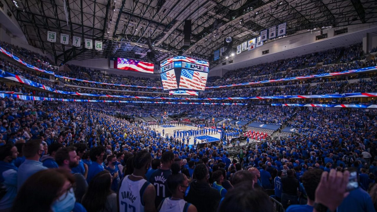 May 28, 2021; Dallas, Texas, USA; A view of the fans and the arena and the stands during the national anthem before the game between the Dallas Mavericks and the LA Clippers in game three in the first round of the 2021 NBA Playoffs at American Airlines Center. Mandatory Credit: Jerome Miron-USA TODAY Sports