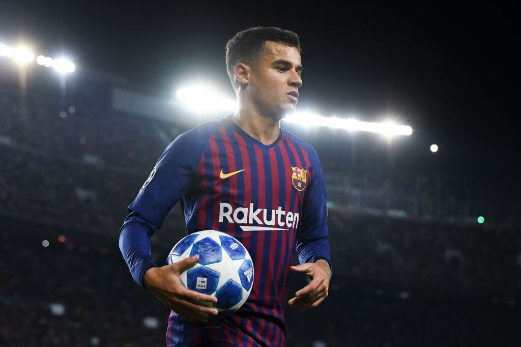 BARCELONA, SPAIN - OCTOBER 24: Philippe Coutinho of FC Barcelona looks on during the Group B match of the UEFA Champions League between FC Barcelona and FC Internazionale at Camp Nou on October 24, 2018 in Barcelona, Spain. (Photo by David Ramos/Getty Images)