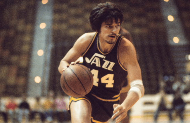 Unknown date and unknown location; USA; FILE PHOTO; New Orleans Jazz guard Pete Maravich (44).