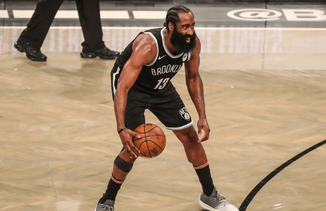 Jun 19, 2021; Brooklyn, New York, USA; Brooklyn Nets guard James Harden (13) during game seven in the second round of the 2021 NBA Playoffs at Barclays Center.