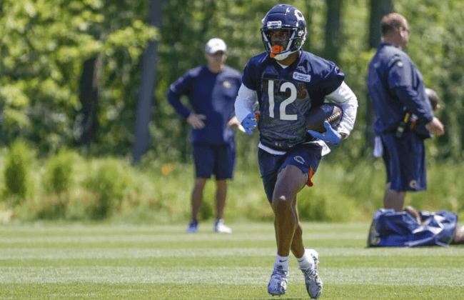 Jun 16, 2021; Lake Forest, Illinois, USA; Chicago Bears Allen Robinson II (12) in action during minicamp at Halas Hall. Mandatory Credit: Kamil Krzaczynski-USA TODAY Sports