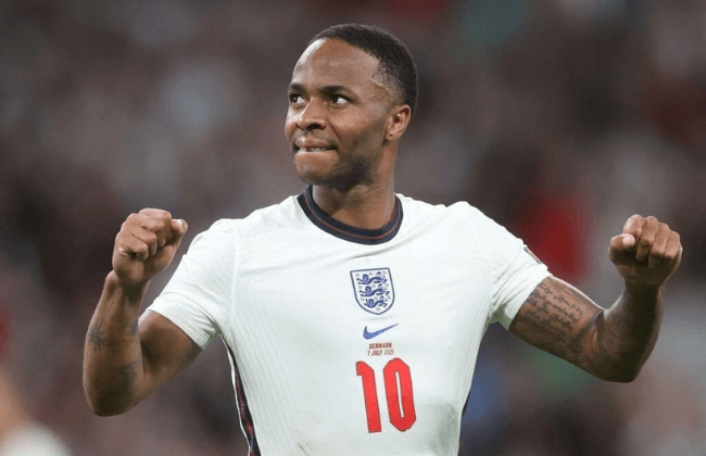 England's forward Raheem Sterling greets the fans after their win in the UEFA EURO 2020 semi-final football match between England and Denmark at Wembley Stadium in London on July 7, 2021.