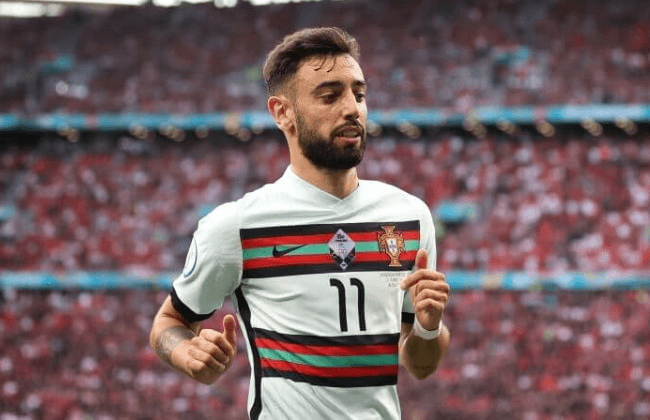 BUDAPEST, HUNGARY - JUNE 15: Bruno Fernandes of Portugal during the UEFA Euro 2020 Championship Group F match between Hungary and Portugal on June 15, 2021 in Budapest, Hungary.