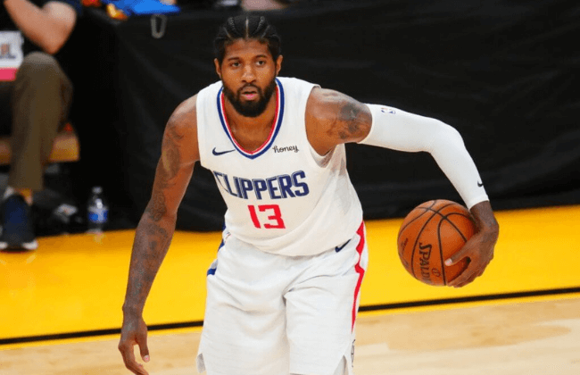 Los Angeles Clippers guard Paul George (13) against the Phoenix Suns in game five of the Western Conference Finals for the 2021 NBA Playoffs