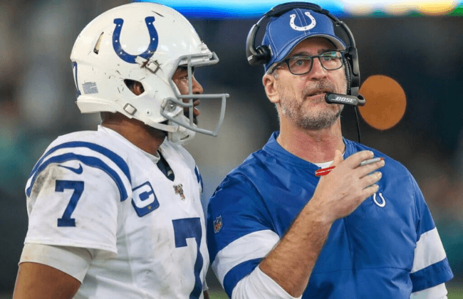 Indianapolis Colts quarterback Jacoby Brissett (7) talks with Indianapolis Colts head coach Frank Reich along the sideline during the game against the Jacksonville Jaguars at TIAA Bank Field in Jacksonville, Fla., on Sunday, Dec. 29, 2019. Indianapolis Colts Vs Jacksonville Jaguars In Nfl Week 17 In Jacksonville Fla On Sunday Dec 29 2019