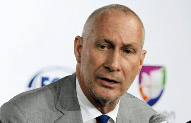 May 12, 2014; New York, NY, USA; ESPN president John Skipper addresses the media at the MLS press conference announcing new television deals at Arena. Andy Marlin-USA TODAY Sports  Skipper recently addressed the NFL moving the Super Bowl to Pay-Per-View.