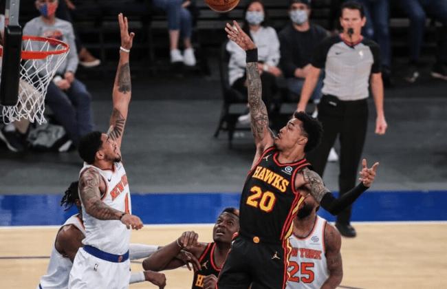 Apr 21, 2021; New York, New York, USA; Atlanta Hawks forward John Collins (20) at Madison Square Garden. Mandatory Credit: Wendell Cruz-USA TODAY Sports
