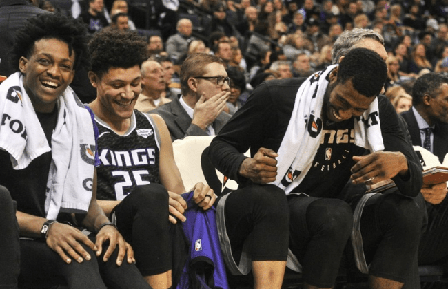 Jan 25, 2019; Memphis, TN, USA; Sacramento Kings guard De'Aaron Fox (5) and forward Justin Jackson (25) and guard Iman Shumpert (9) during the second half against the Memphis Grizzlies at FedExForum. Sacramento Kings defeated the Memphis Grizzlies 99-96.Mandatory Credit: Justin Ford-USA TODAY Sports