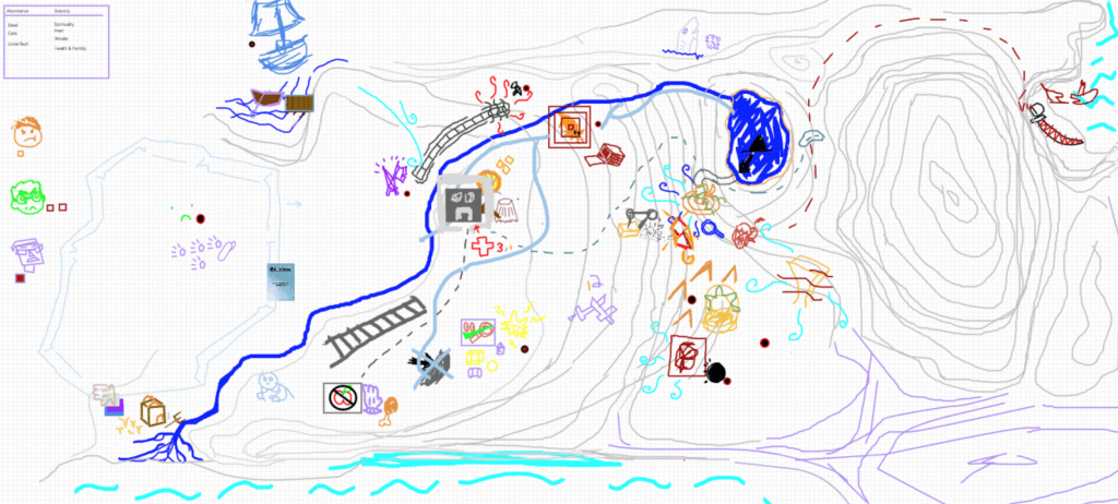 The result of a full game of The Quiet Year: a colorful, if clumsy, map.