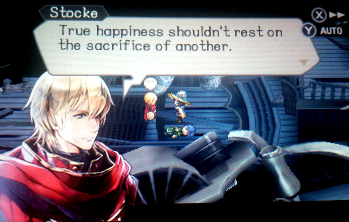 """True happiness shouldn't rest on the sacrifice of another."" Screenshot from Radiant Historia: Perfect Chronology, developed and released by Atlus, 2017."