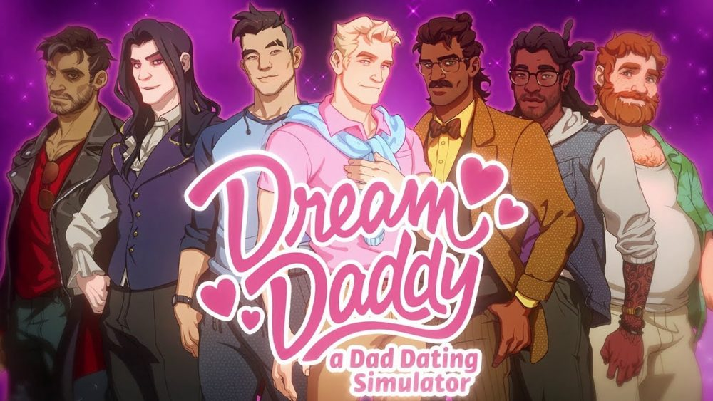 The title screen of Dream Daddy. 7 men of varying skin tones and bone structures stand behind the logo. Most of them are varying degrees of chiseled; one is portly. Dream Daddy, Game Grumps, 2017.