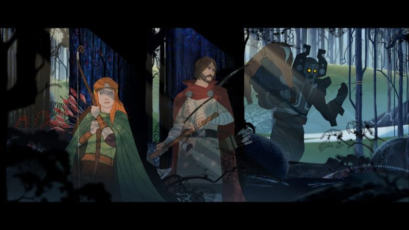 Shot of Rook and his daughter hiding behind some trees. The Banner Saga, Stoic Studio, Versus Evil, 2014