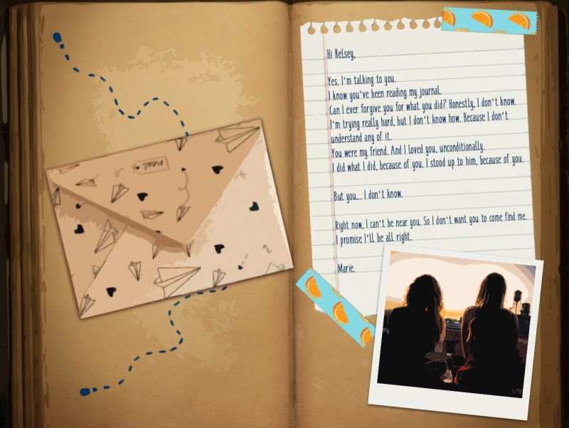 A journal page with an envelope, note, and polaroid photo pasted in. The note is from Marie, addressed to Kelsey, and cuts off their friendship due to something Kelsey did. Marie's Room, Kenny Guillaume & Dagmar Blommaert, 2018