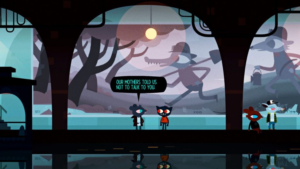 "A screenshot of Night in the Woods. Mae stands beneath the mural in the subway tunnel with one of the teens, who says, ""Our mothers told us not to talk to you."" Night in the Woods, Infinite Fall, Finji, 2017."