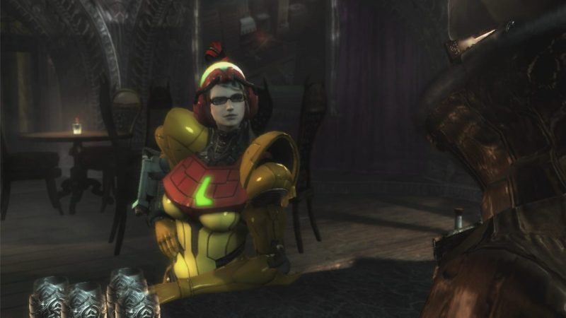 Bayonetta leans on a bar, wearing an almost Samus-like yellow suit of mech armor. Bayonetta, PlatinumGames, Nintendo, 2014