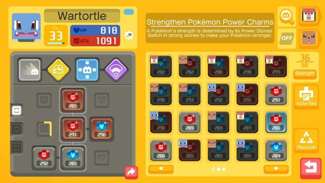 The Pokémon Quest equipment management screen. A Level 33 Wartortle is on deck. Pokémon Quest, Game Freak, The Pokémon Company, 2018.