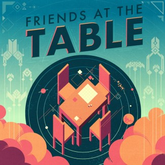 Podcast artwork for Friends at the Table. The camera looks down on a table with four chairs set around it. The background is digital, but not purely futuristic. Symbols and abstract linework play across the background. Artwork by Craig Sheldon.