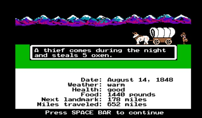 "Oregon Trail Gameplay screen. The image shows an 8-bit covered wagon and an ox, with a thief leaving the scene of the crime. The text reads, ""A thief comes during the night and steals 5 oxen. Press SPACE BAR to continue."" The Oregon Trail, MECC, Brøderbund, 1971."