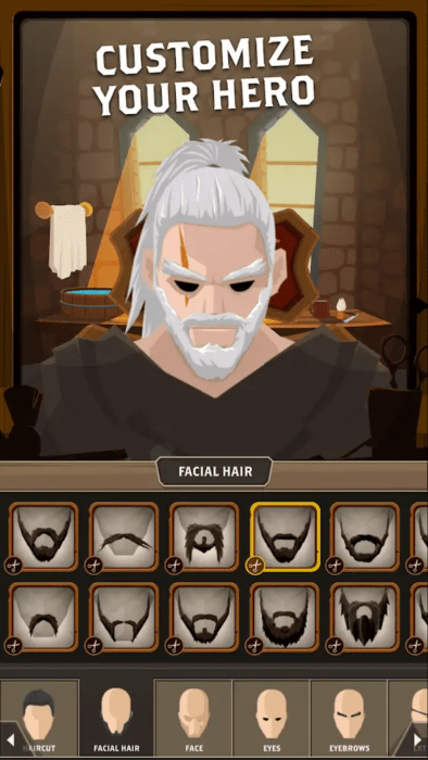 """A screenshot featuring text """"Customize your Hero"""" with an array of facial hair options. The screenshot does not indicate there are any non-masculine options. Questland: Turn Based RPG, Gamesture sp. z o.o., 2018."""