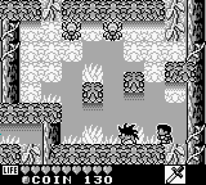 Screenshot of Kaeru no Tame ni Kane wa Naru, showing the player character Sable in one of the side-scrolling sections. Kaeru no Tame ni Kane wa Naru, Nintendo, 1992