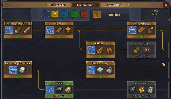 "A screenshot from Graveyard Keeper, showing the skill trees for ""The concept of wood"" and ""The concept of stone."" The trees move to the right as the character progresses, occasionally branching off into different focuses. Graveyard Keeper Alpha, Lazy Bear Games, 2018"